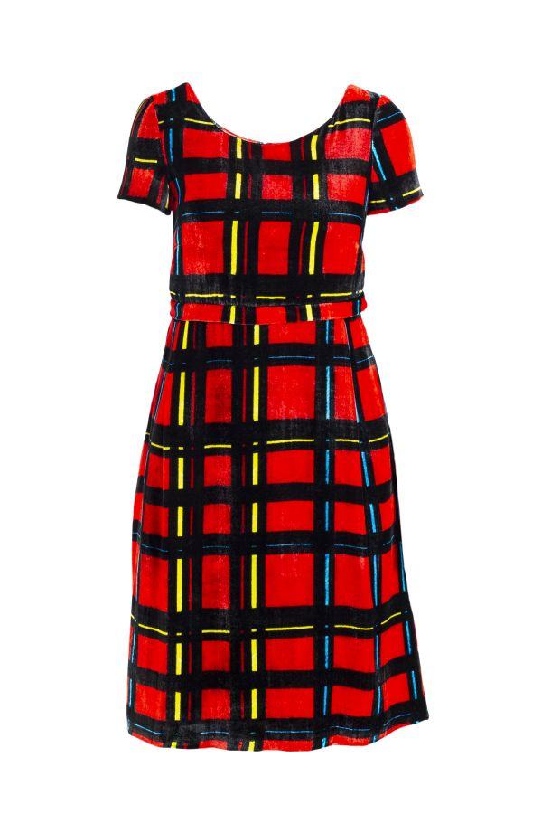 DIVISIBLE-DRESS RED S-TARTAN SILK VELVET   11