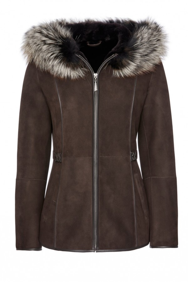 Womens Shearling Jacket with Fox