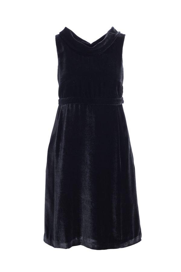 DIVISIBLE-DRESS BLACK SILK VELVET  01
