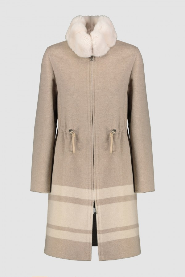REVERSIBLE CASHMERE BLEND COAT WITH CHINCHILLA