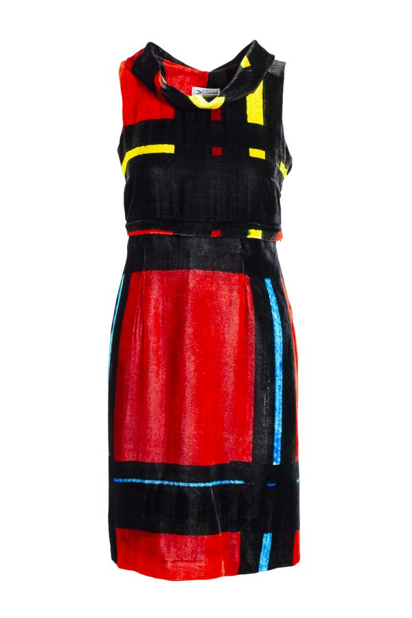 DIVISIBLE-DRESS RED L-TARTAN SILK VELVET   00
