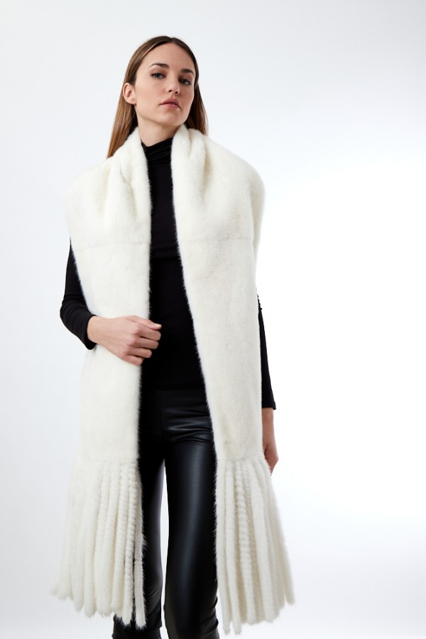 """""""SPINALE"""" FULL MINK MAXI SCARF WITH FRINGES"""