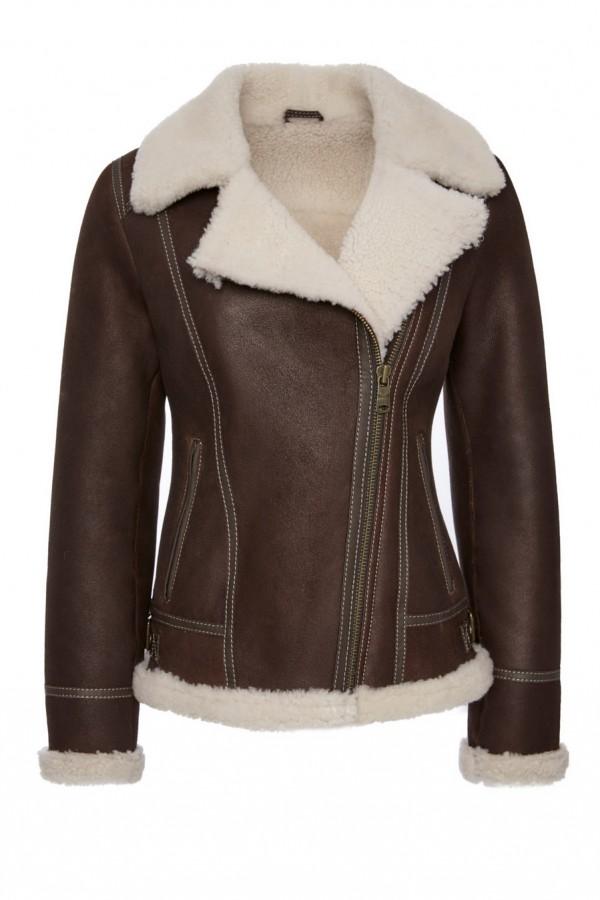 Womens Perfecto Shearling Coat
