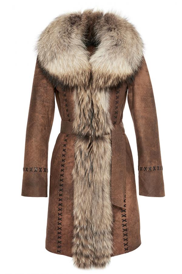 Womens Merino Sheepskin Coat with Fox Fur Trim