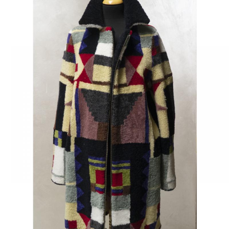 Multicoloured sheepskin coat with reversible