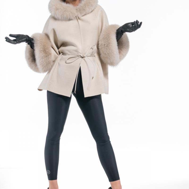 Eqru-Beige Cashmere Hooded Jacket with Fox Trim