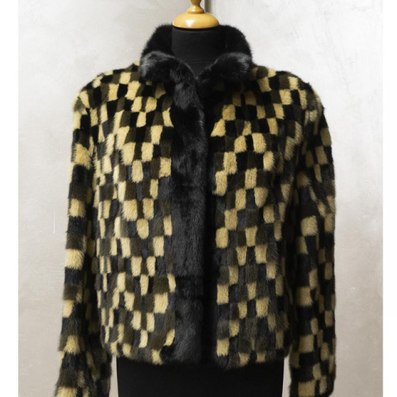 Standard mud and cream mink jacket with chequered pattern.
