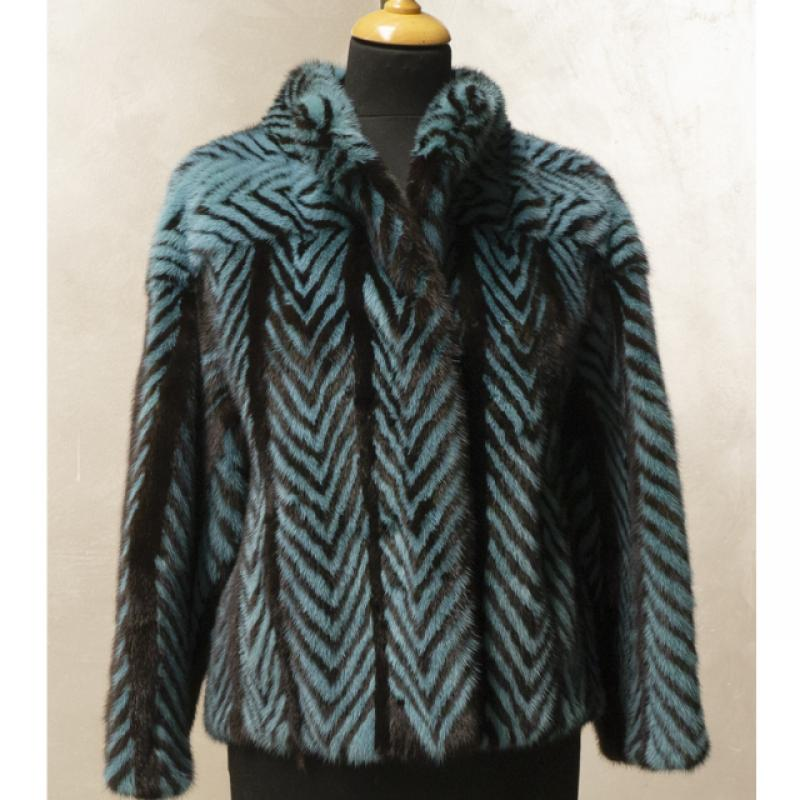 Standard herringbone mink jacket combined with turquoise-dyed mink.