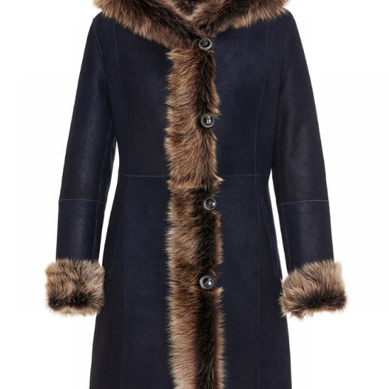 Womens Toscana Shearling Sheepskin Coat Navy