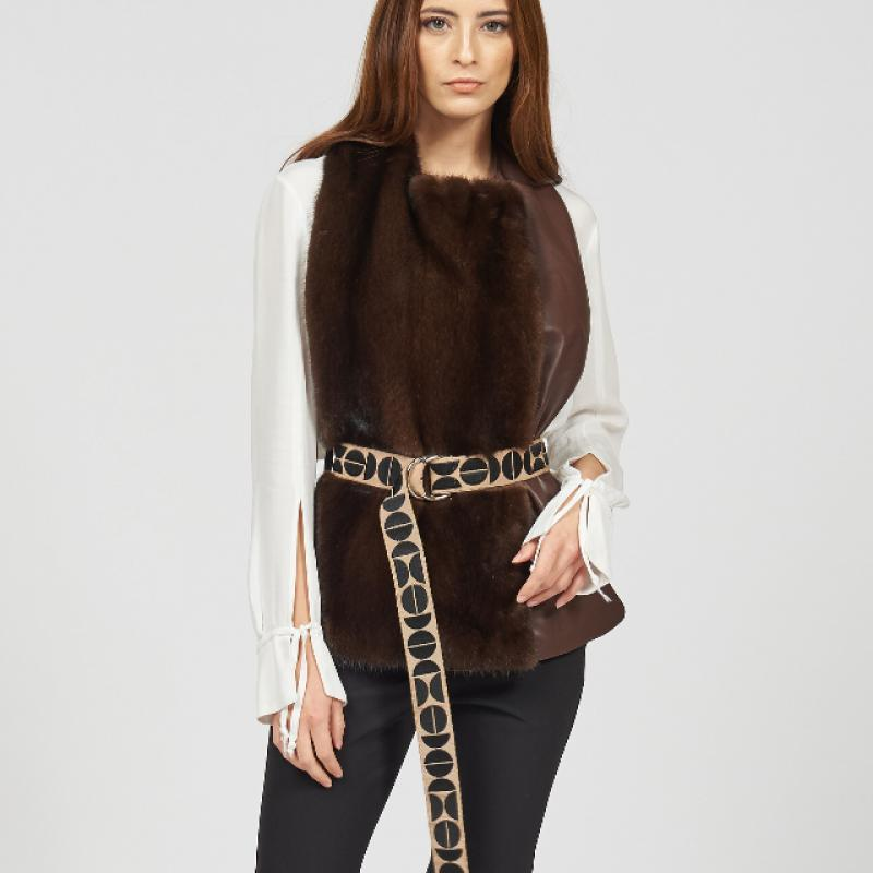 Fur and leather vest
