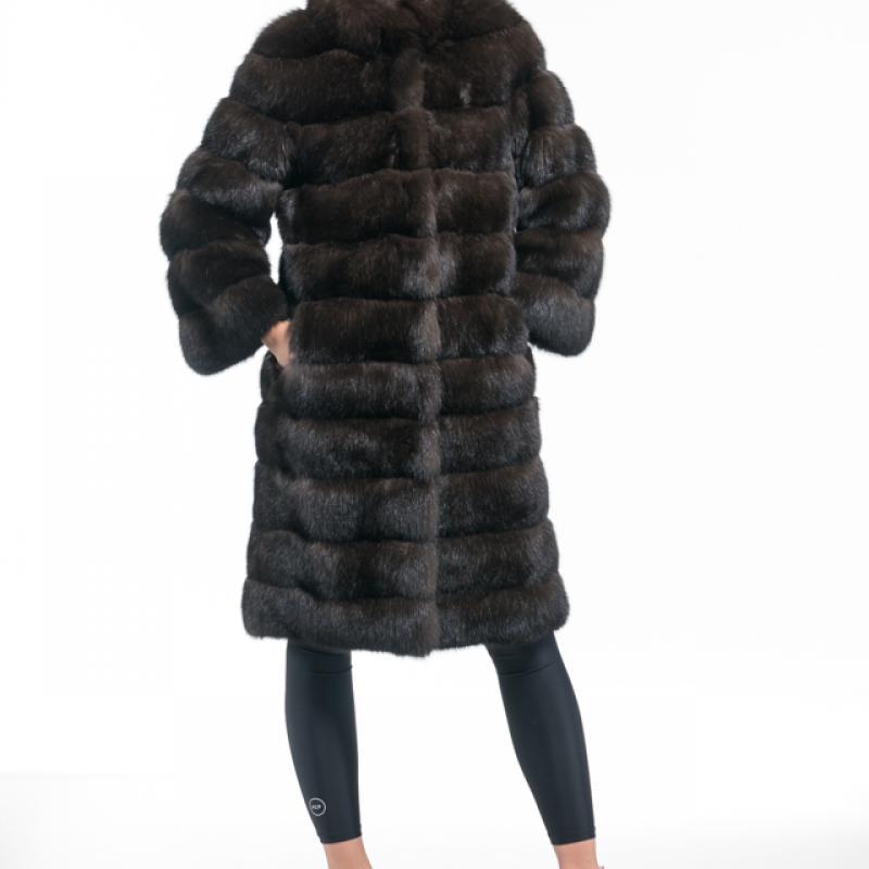 Dark Russian Sable Stand Collared  Half Coat