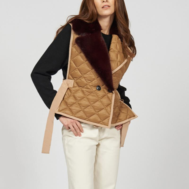 Padded vest with fur collar
