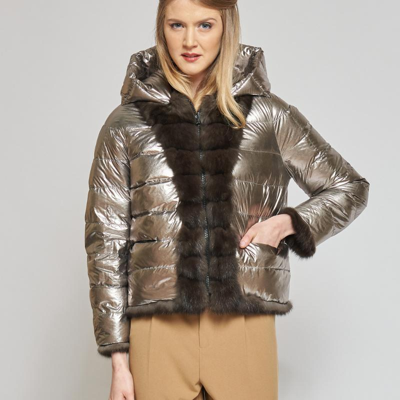 REVERSIBILE DOWN JACKET WITH DARK RUSSIAN SABLE