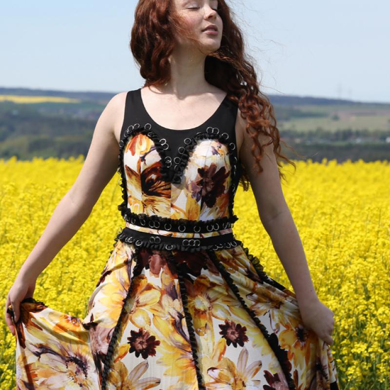 GOLDEN OCHRE FLORAL DRESS