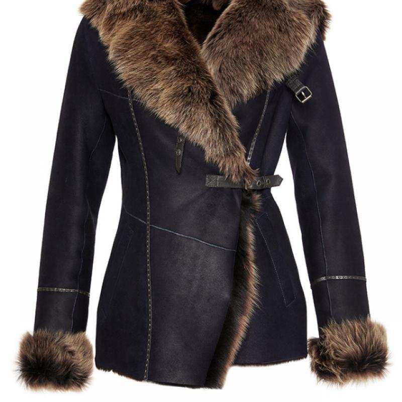 Womens Toscana Shearling Sheepskin Jacket with Hood