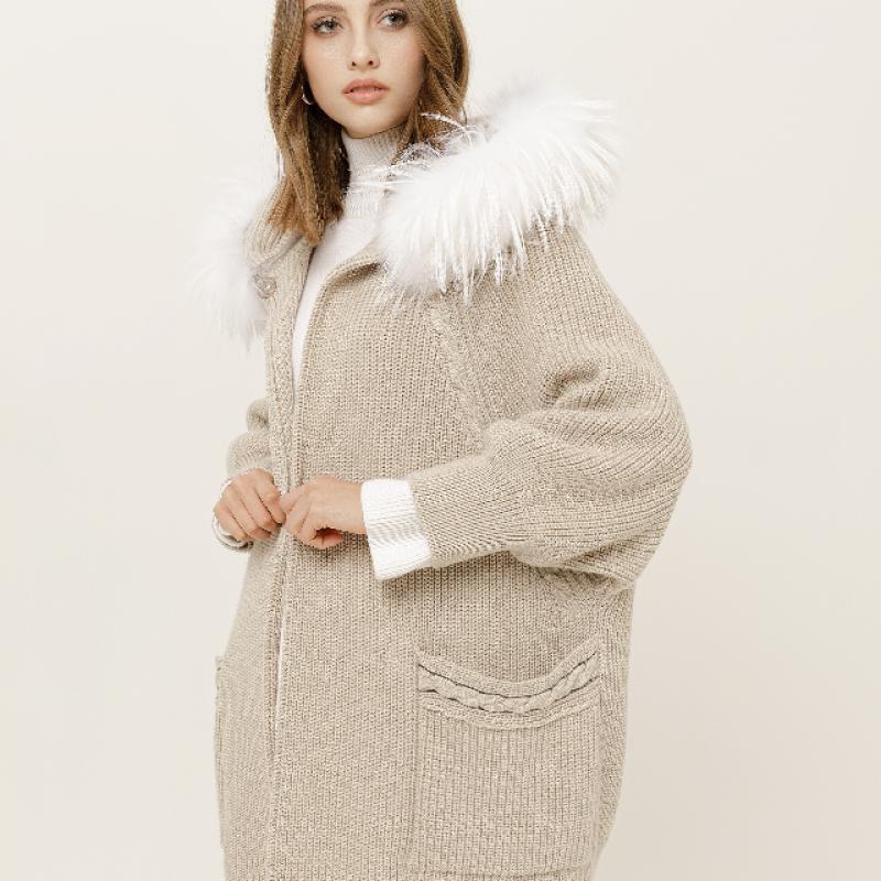cardigan jacket with fur