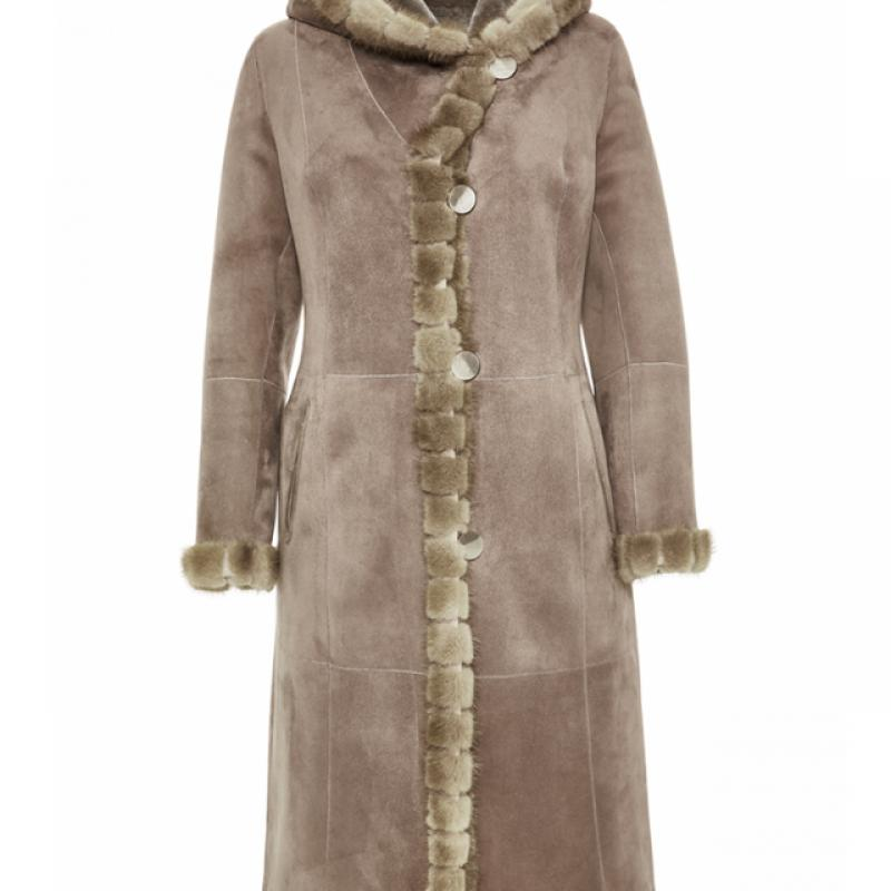 Reversible Womens Merino Shearling Coat with Mink Details