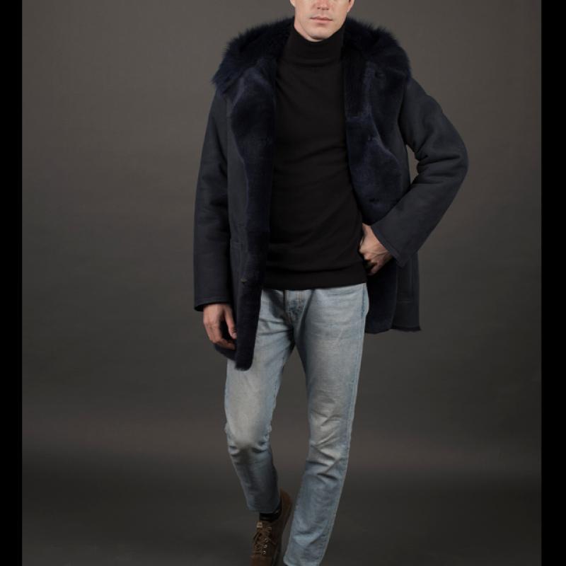 Sheared lamb & toscana blue suede hood 85cm