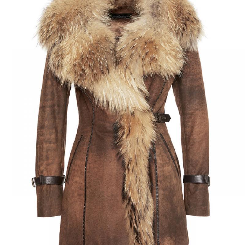 Womens Shearling Sheepskin Coat with Fox