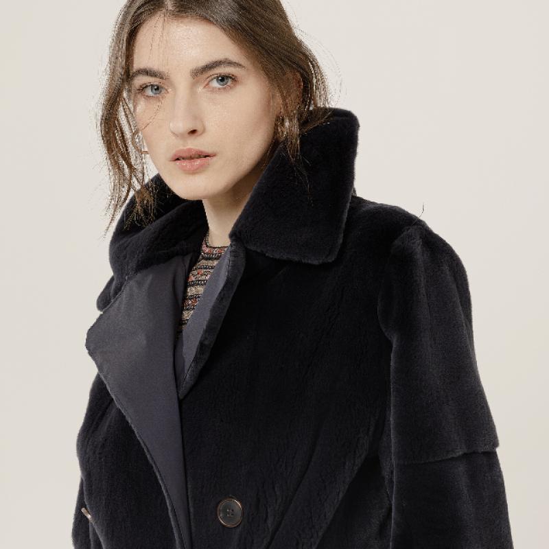 Plucked mink trench coat, reversible