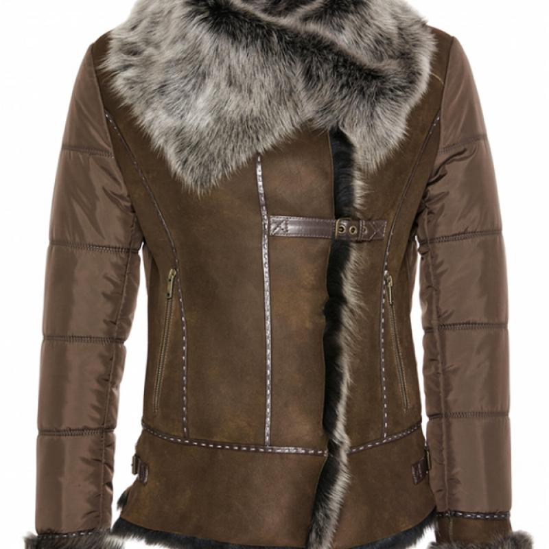 Womens Bomber Shearling Sheepskin Jacket