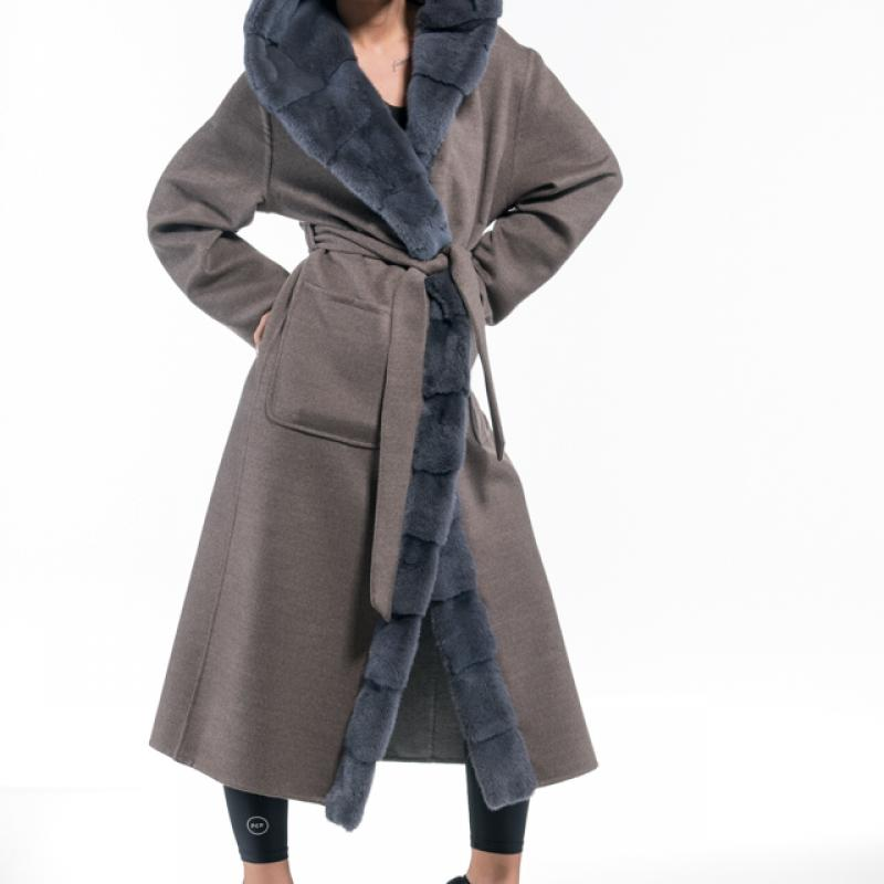 Brown Grey Cashmere Hooded Coat with Mink Trim