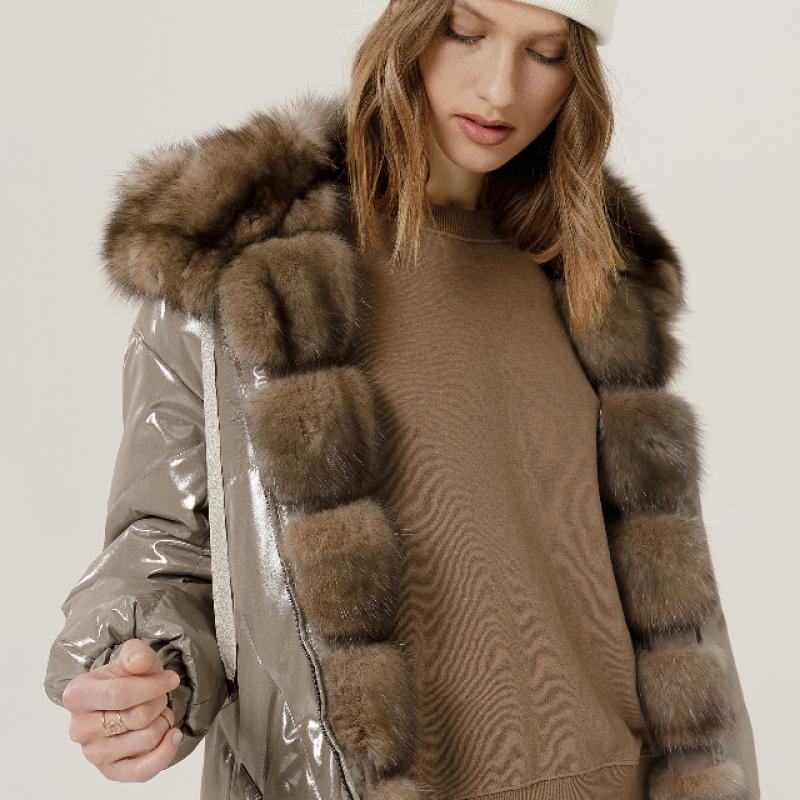 Bomber jacket in Russian sable, reversibile