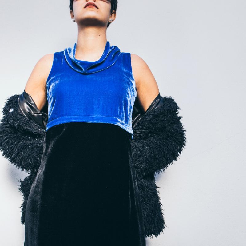 DIVISIBLE-DRESS BLUE and BLACK SILK VELVET  01