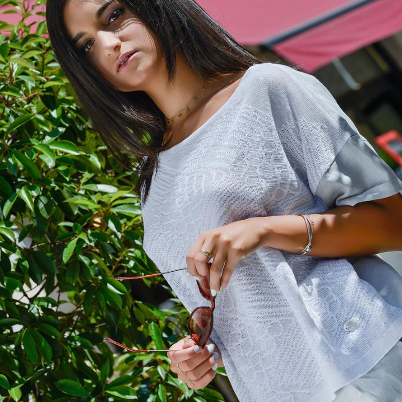 WIDE BLOUSE ORGANIC GOTS COTTON  AND PURE LINEN