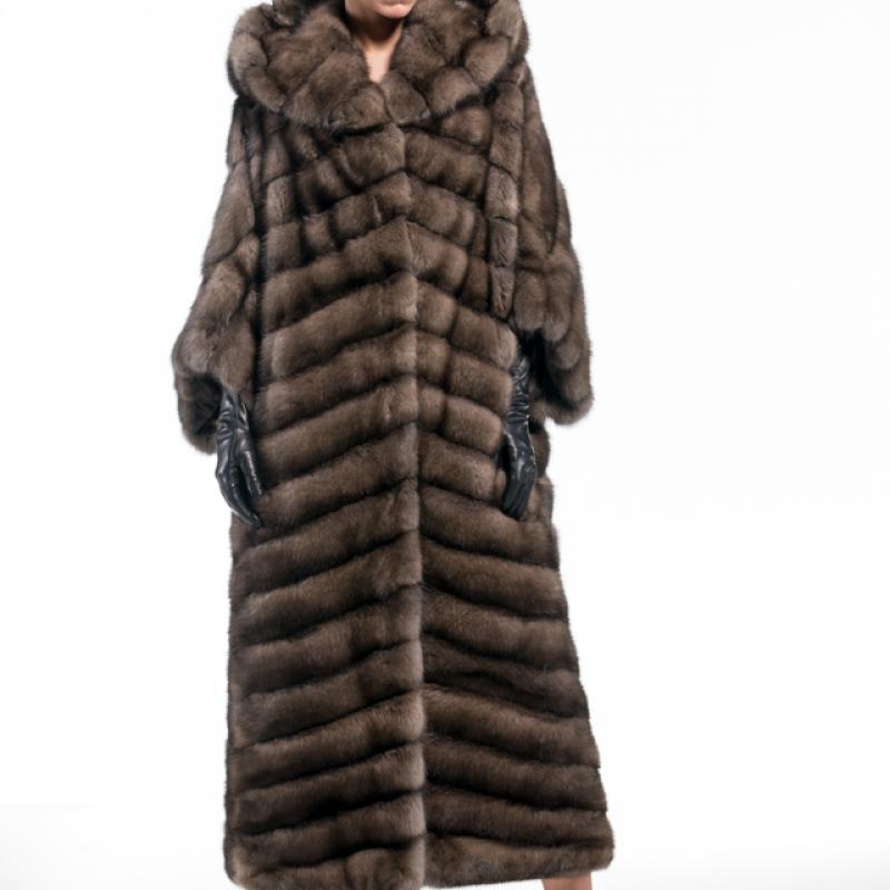 Tortora Grafite Russian Sable Hooded Coat