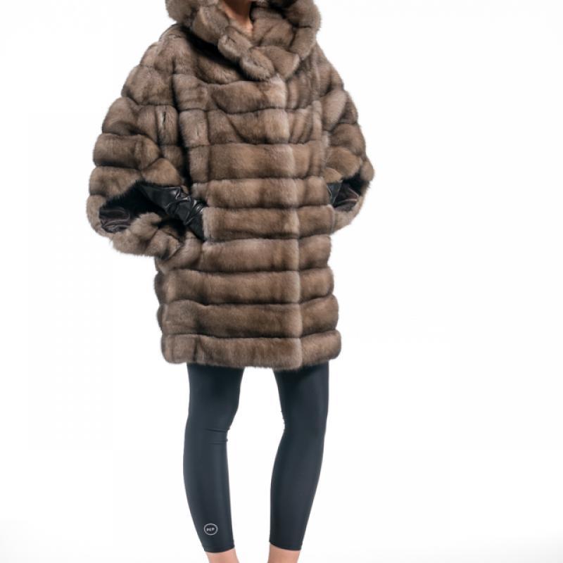 Tortora Russian Sable Hooded Half Coat