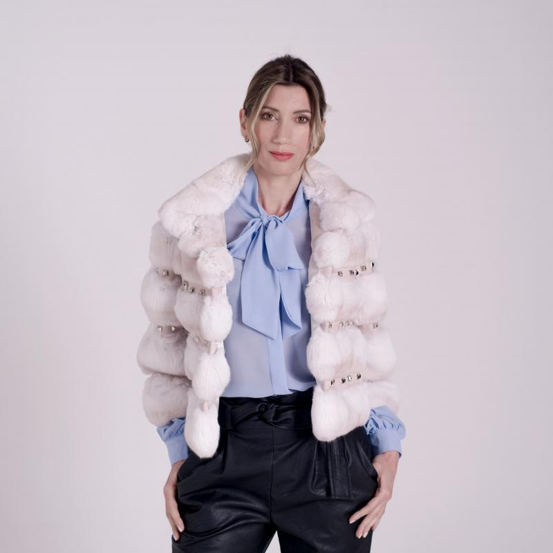 Fur jacket in Chinchillà Snow Pink with Studs