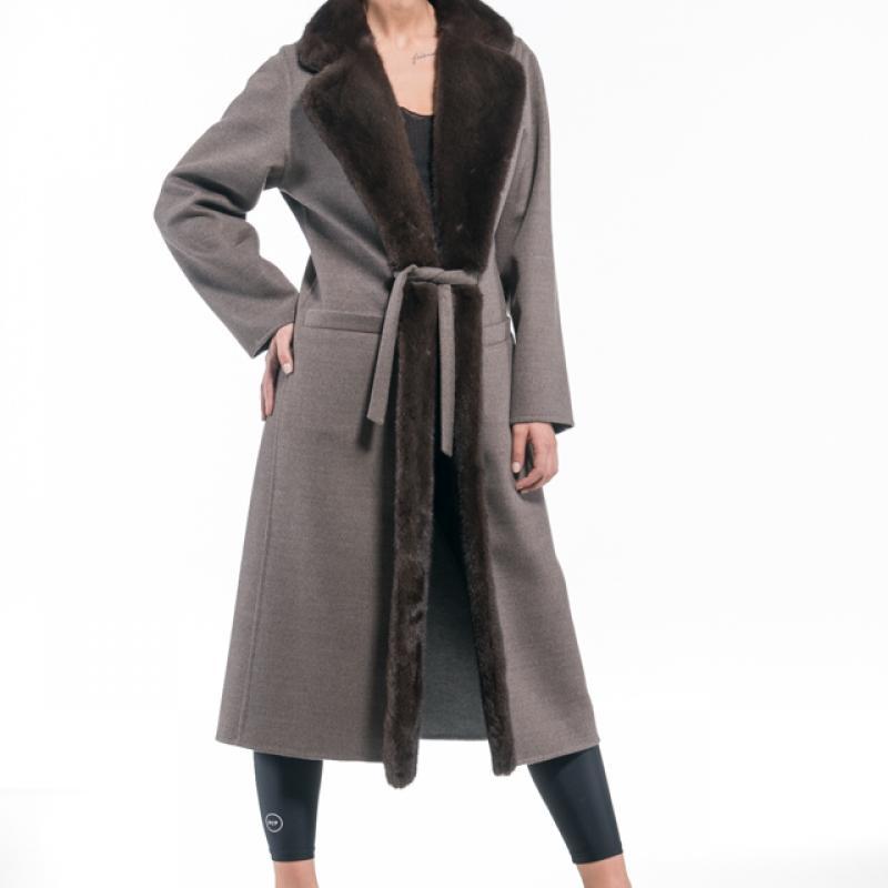 Brown - Grey Cashmere Coat with Mink Trim