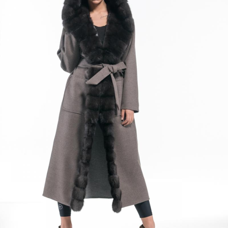 Brown Grey Cashmere Hooded Coat with Dark Sable Trim