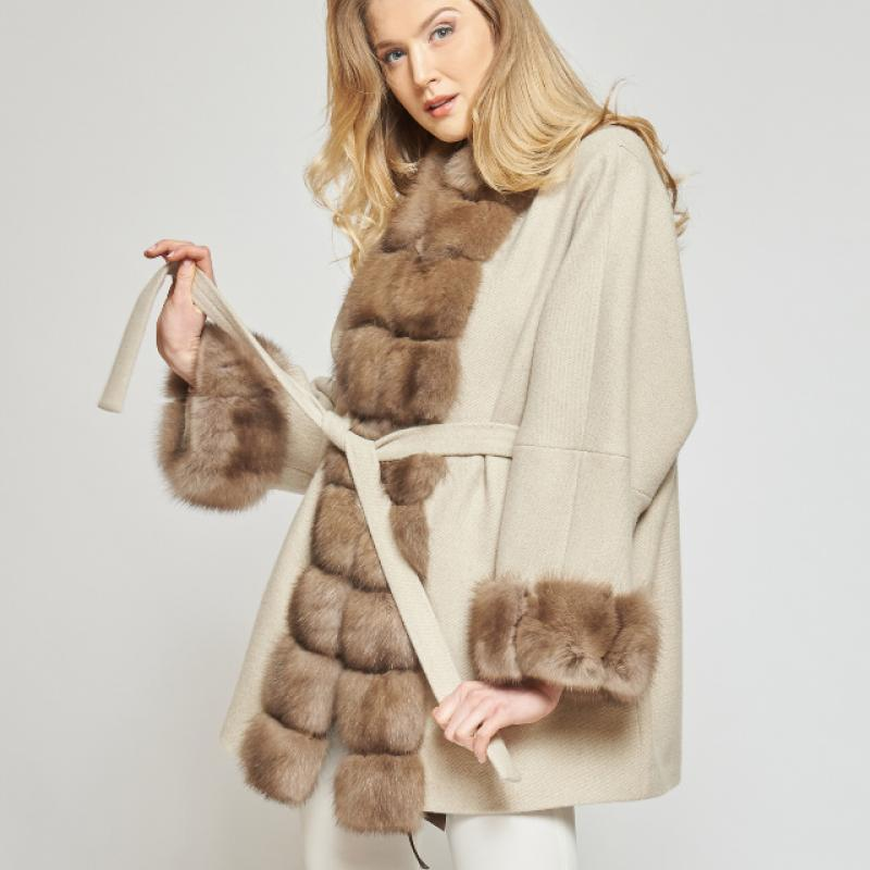 CASHMERE COAT WITH RUSSIAN SABLE