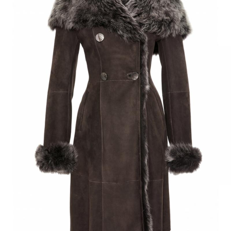 Womens Toscana Shearling Sheepskin Coat with Hood