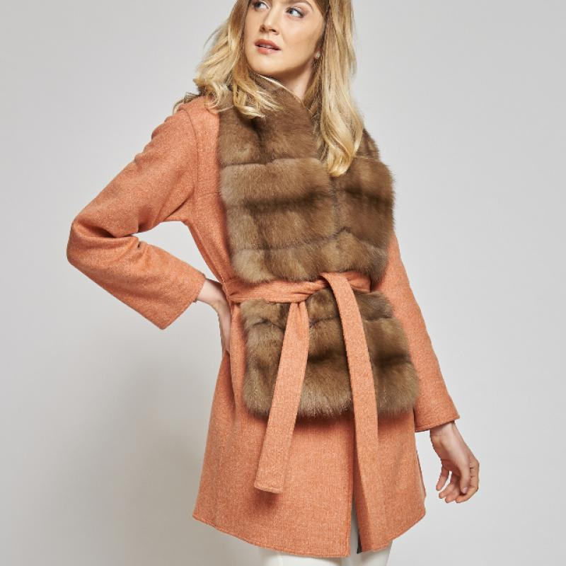 CASHMERE COAT WITH A SABLE FUR SCARF
