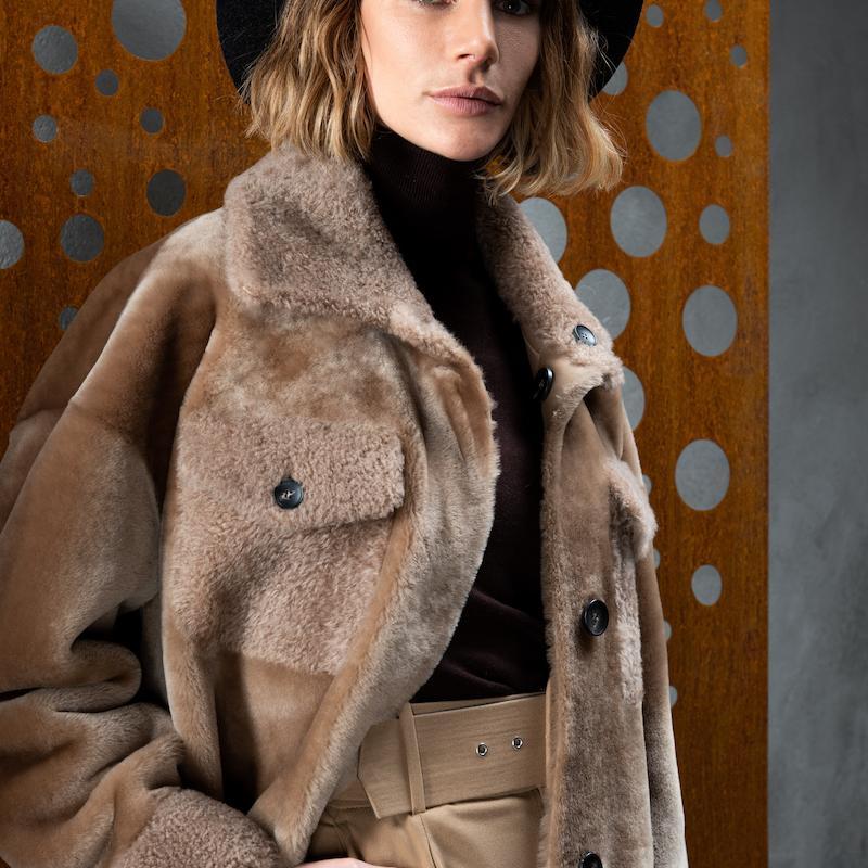 shearling coat L058