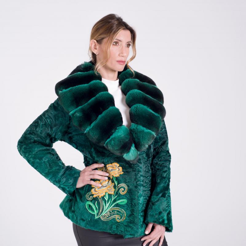Giacca in persiano verde con collo in Chinchillà