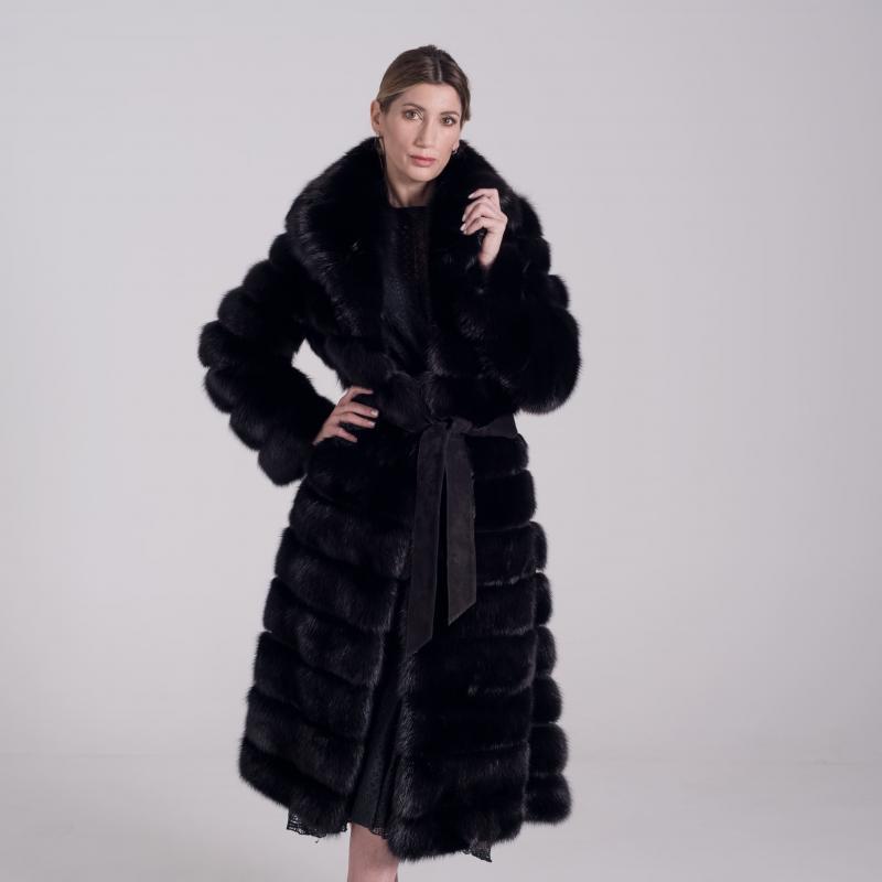 Long Fur coat in Black Sable