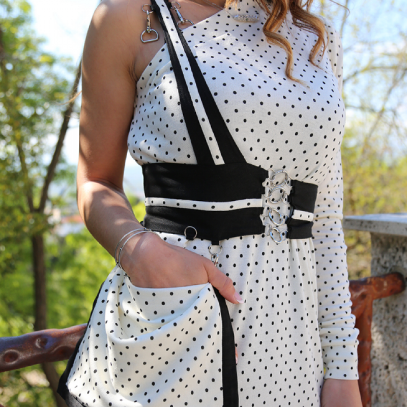 BELTED WHITE SPARKLING DRESS
