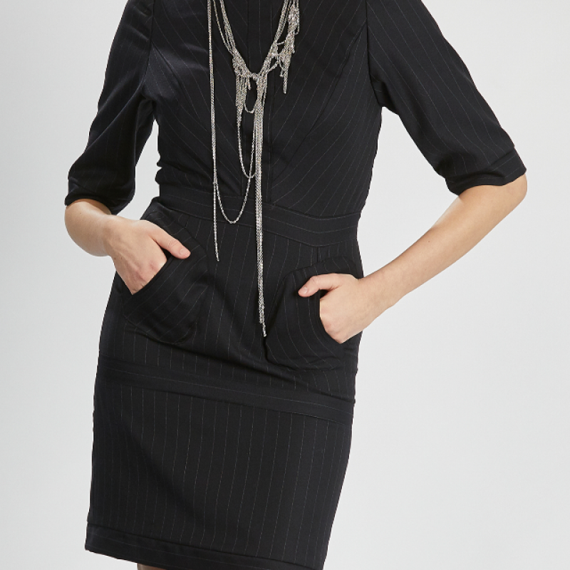 SMART BLACK PINSTRIPED DRESS