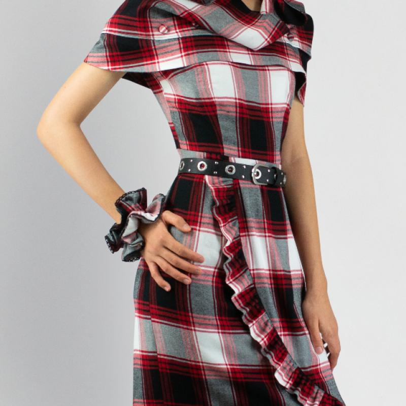 ENGLISH SCARLET CHECKED DRESS