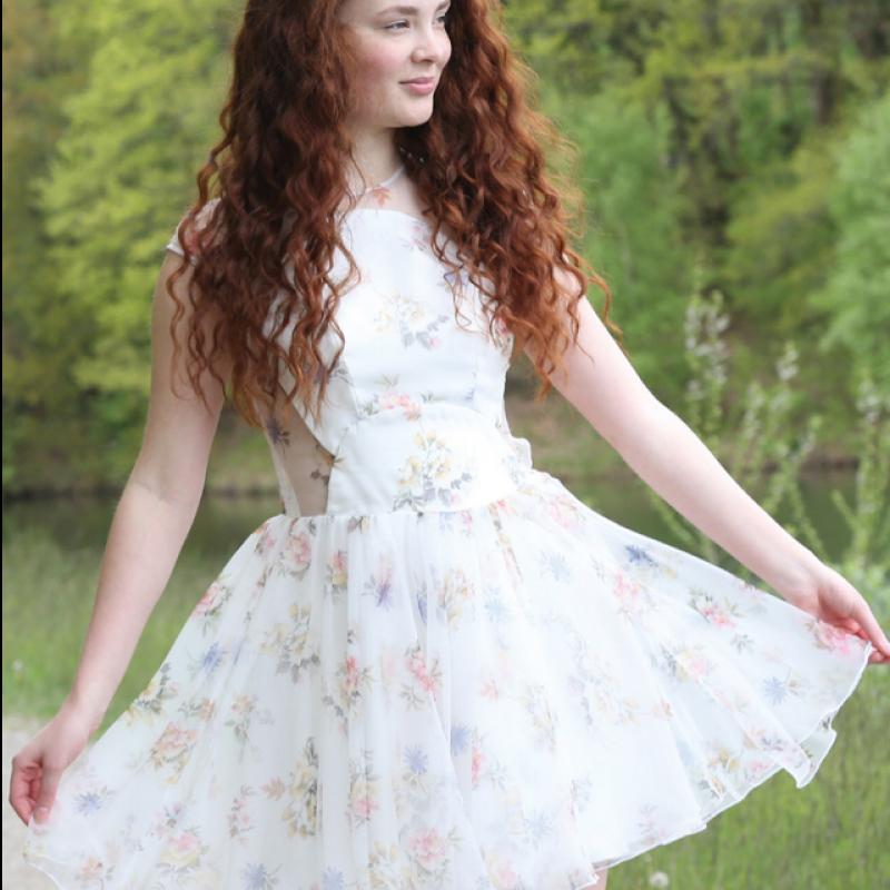 WHITE MAUVE FLOREAL DRESS