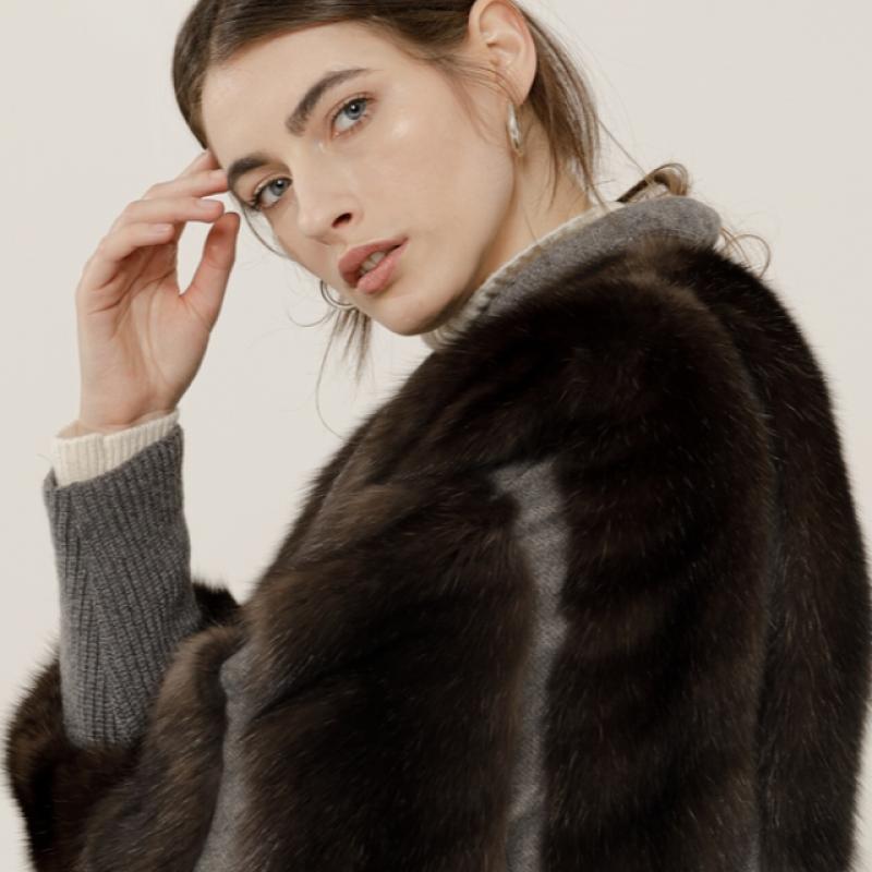 Sable jacket on Cashmere fabric