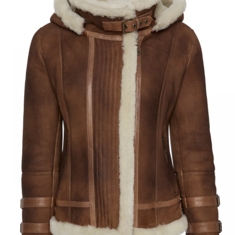 Womens Shearling Jacket with Hood
