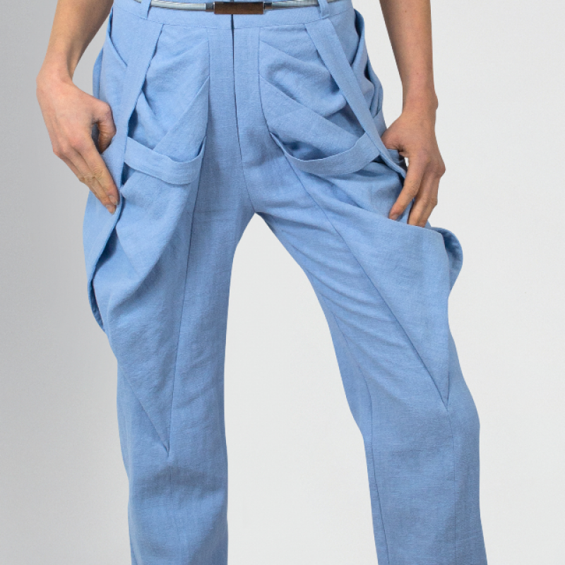 LIGHT BLUE TAPED TROUSERS