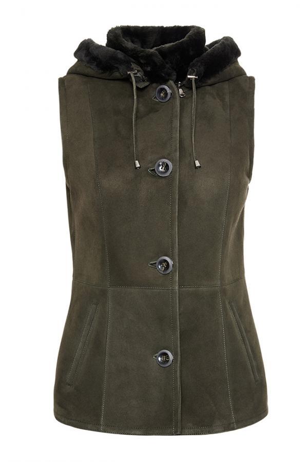 Womens Spanish Merino Shearling Vest with Hood