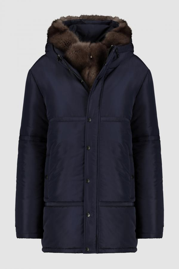 DOWN COAT WITH RUSSIAN SABLE