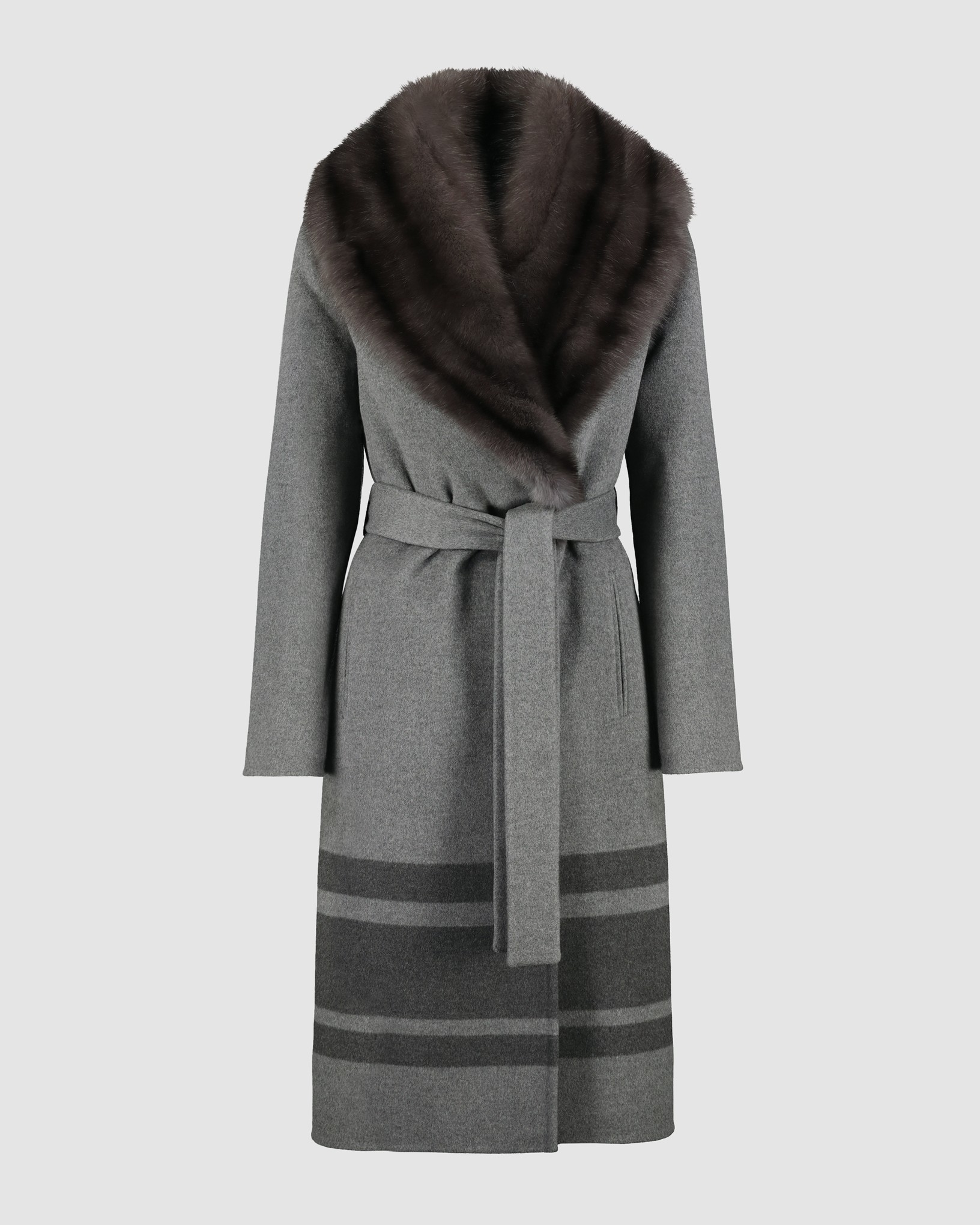 CASHMERE BLEND COAT WITH RUSSIAN SABLE